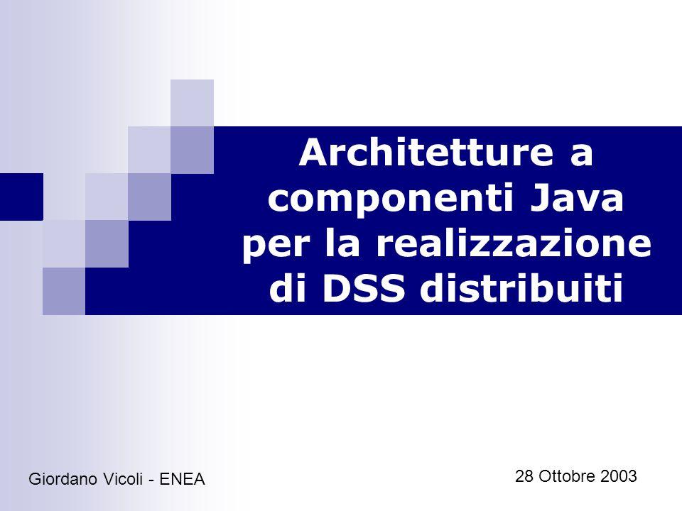Architetture a componenti Java per la realizzazione di DSS distribuiti32 Giordano Vicoli - ENEA Transazioni Prenotazione e pagamento.