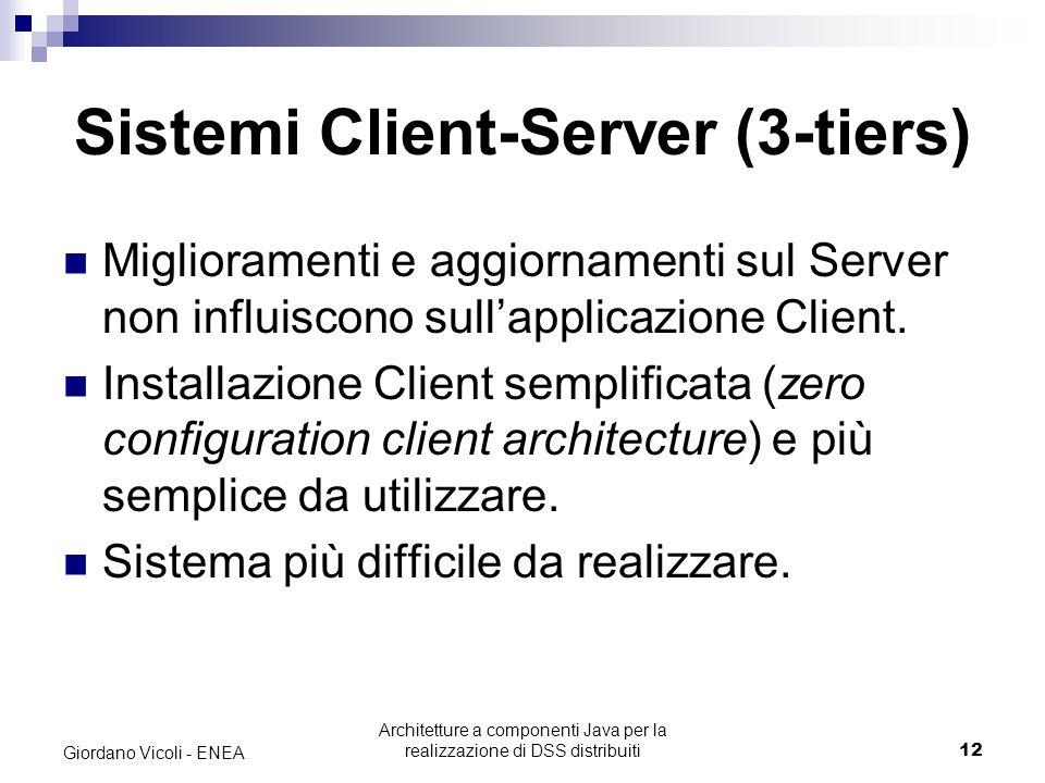 Architetture a componenti Java per la realizzazione di DSS distribuiti12 Giordano Vicoli - ENEA Sistemi Client-Server (3-tiers) Miglioramenti e aggiornamenti sul Server non influiscono sull'applicazione Client.