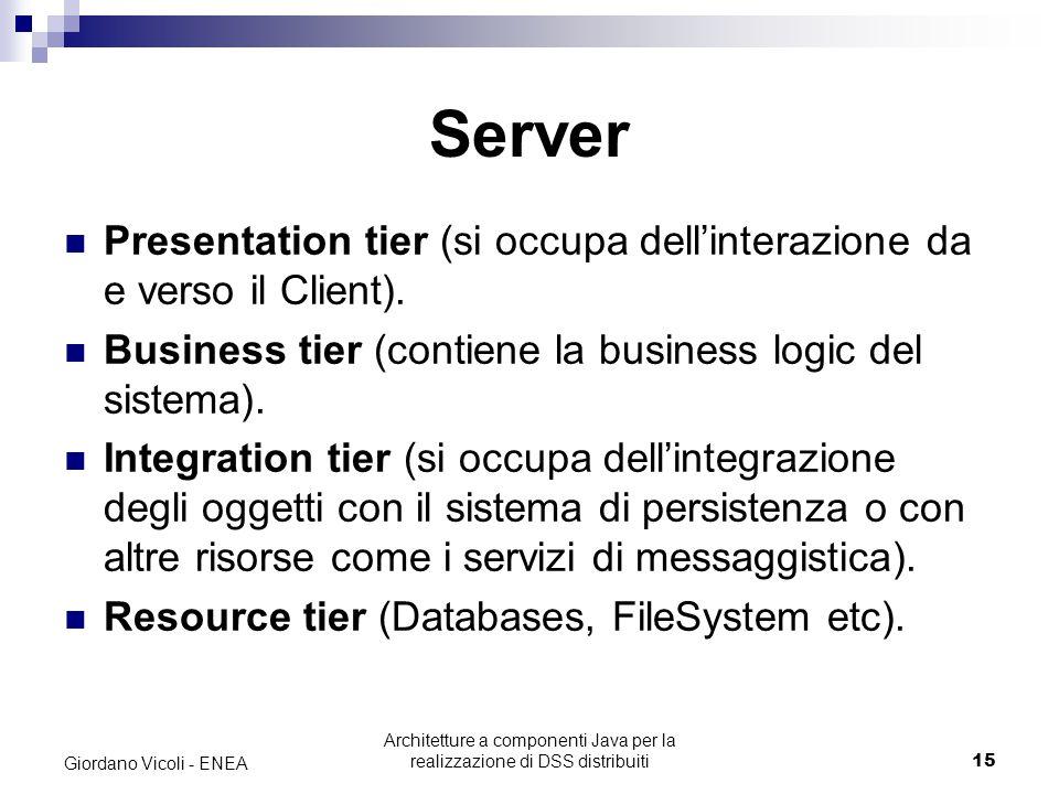 Architetture a componenti Java per la realizzazione di DSS distribuiti15 Giordano Vicoli - ENEA Server Presentation tier (si occupa dell'interazione da e verso il Client).
