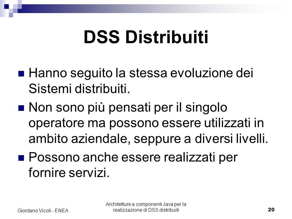 Architetture a componenti Java per la realizzazione di DSS distribuiti20 Giordano Vicoli - ENEA DSS Distribuiti Hanno seguito la stessa evoluzione dei Sistemi distribuiti.