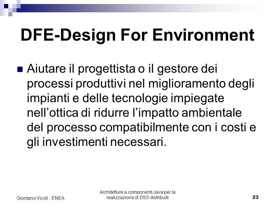 Architetture a componenti Java per la realizzazione di DSS distribuiti23 Giordano Vicoli - ENEA DFE-Design For Environment Aiutare il progettista o il gestore dei processi produttivi nel miglioramento degli impianti e delle tecnologie impiegate nell'ottica di ridurre l'impatto ambientale del processo compatibilmente con i costi e gli investimenti necessari.
