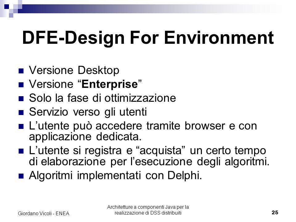 Architetture a componenti Java per la realizzazione di DSS distribuiti25 Giordano Vicoli - ENEA DFE-Design For Environment Versione Desktop Versione Enterprise Solo la fase di ottimizzazione Servizio verso gli utenti L'utente può accedere tramite browser e con applicazione dedicata.