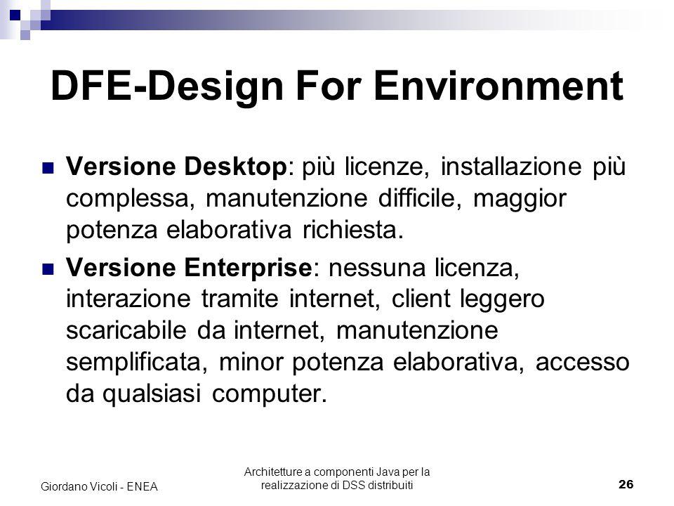Architetture a componenti Java per la realizzazione di DSS distribuiti26 Giordano Vicoli - ENEA DFE-Design For Environment Versione Desktop: più licenze, installazione più complessa, manutenzione difficile, maggior potenza elaborativa richiesta.