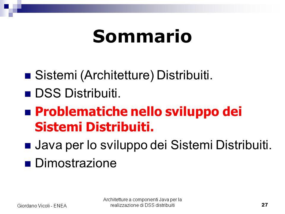 Architetture a componenti Java per la realizzazione di DSS distribuiti27 Giordano Vicoli - ENEA Sommario Sistemi (Architetture) Distribuiti.