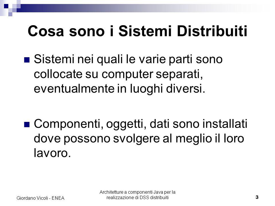 Architetture a componenti Java per la realizzazione di DSS distribuiti14 Giordano Vicoli - ENEA Server Il lato Server può essere ulteriormente suddiviso in più livelli.