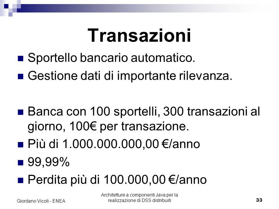 Architetture a componenti Java per la realizzazione di DSS distribuiti33 Giordano Vicoli - ENEA Transazioni Sportello bancario automatico.