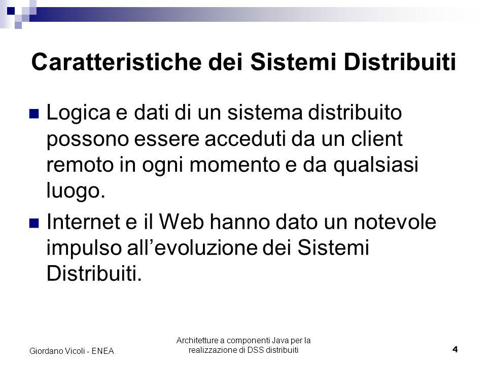 Architetture a componenti Java per la realizzazione di DSS distribuiti4 Giordano Vicoli - ENEA Caratteristiche dei Sistemi Distribuiti Logica e dati di un sistema distribuito possono essere acceduti da un client remoto in ogni momento e da qualsiasi luogo.