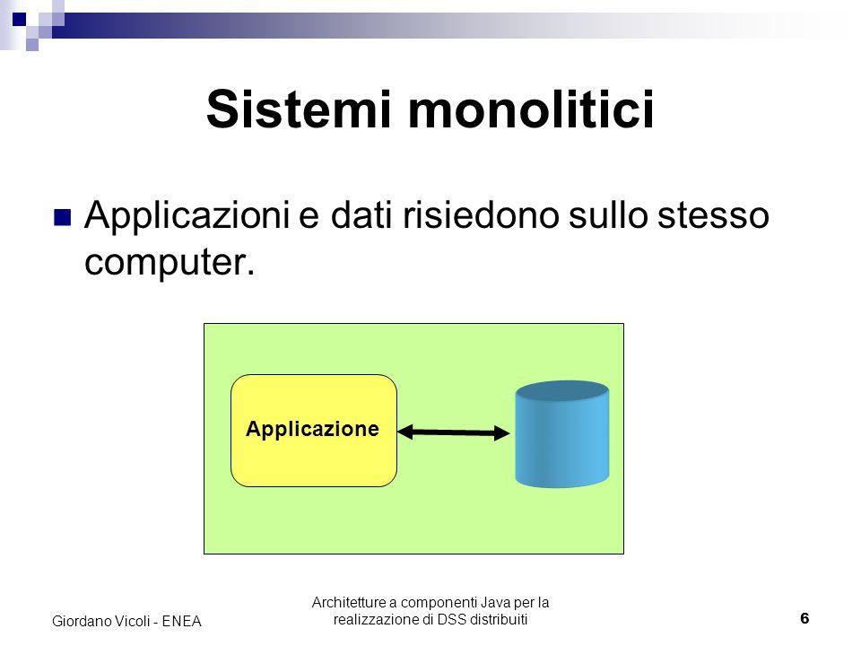 Architetture a componenti Java per la realizzazione di DSS distribuiti6 Giordano Vicoli - ENEA Sistemi monolitici Applicazioni e dati risiedono sullo stesso computer.