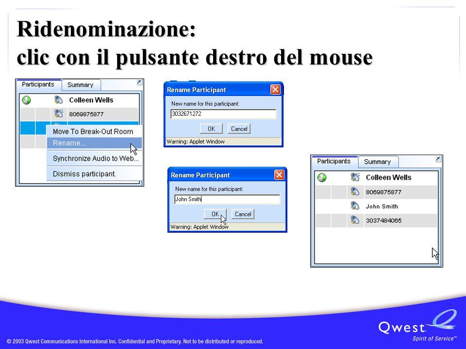 Ridenominazione: clic con il pulsante destro del mouse
