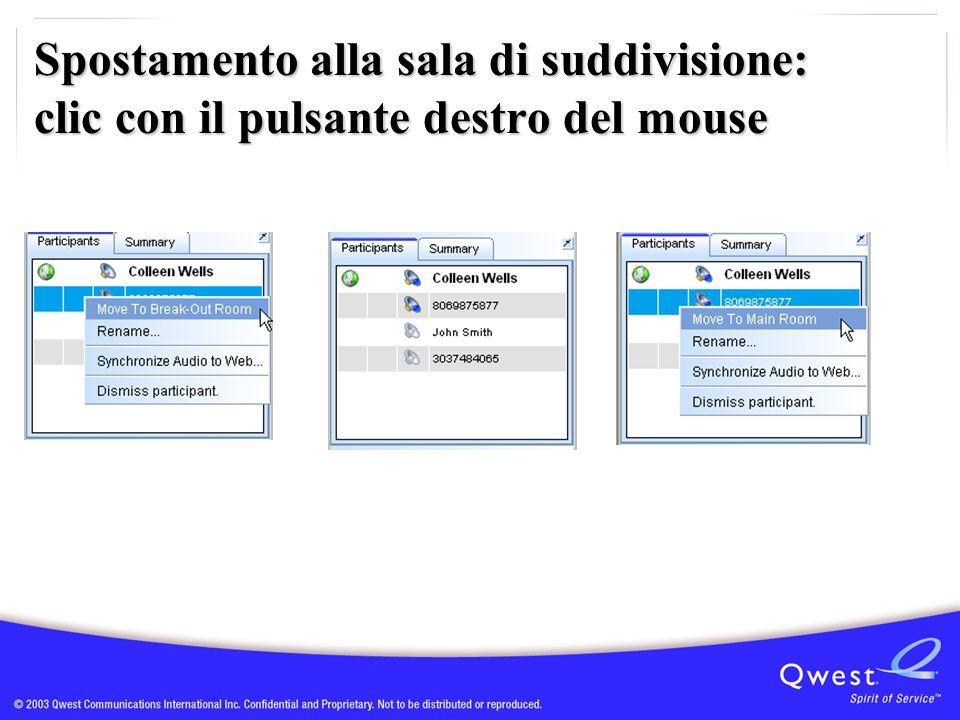 Spostamento alla sala di suddivisione: clic con il pulsante destro del mouse