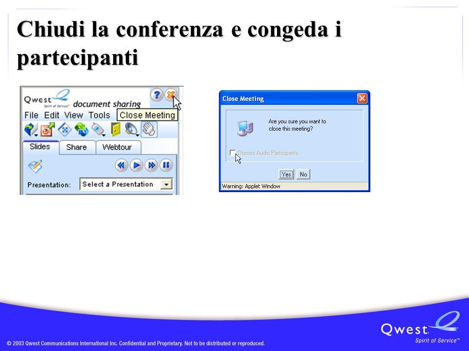 Chiudi la conferenza e congeda i partecipanti