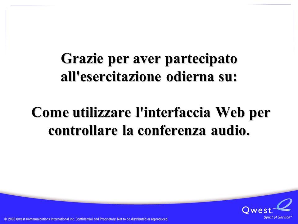 Grazie per aver partecipato all esercitazione odierna su: Come utilizzare l interfaccia Web per controllare la conferenza audio.