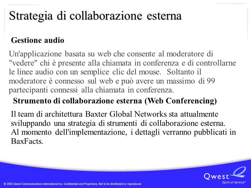 Strategia di collaborazione esterna Il team di architettura Baxter Global Networks sta attualmente sviluppando una strategia di strumenti di collabora