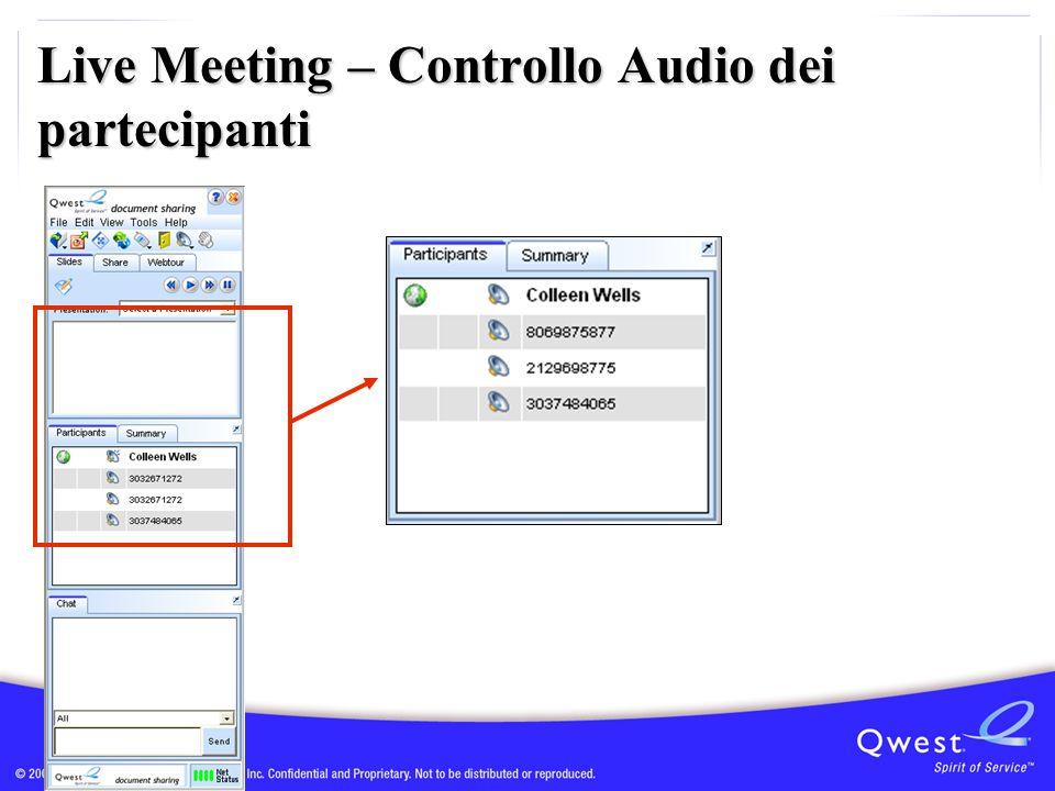 Live Meeting – Controllo Audio dei partecipanti