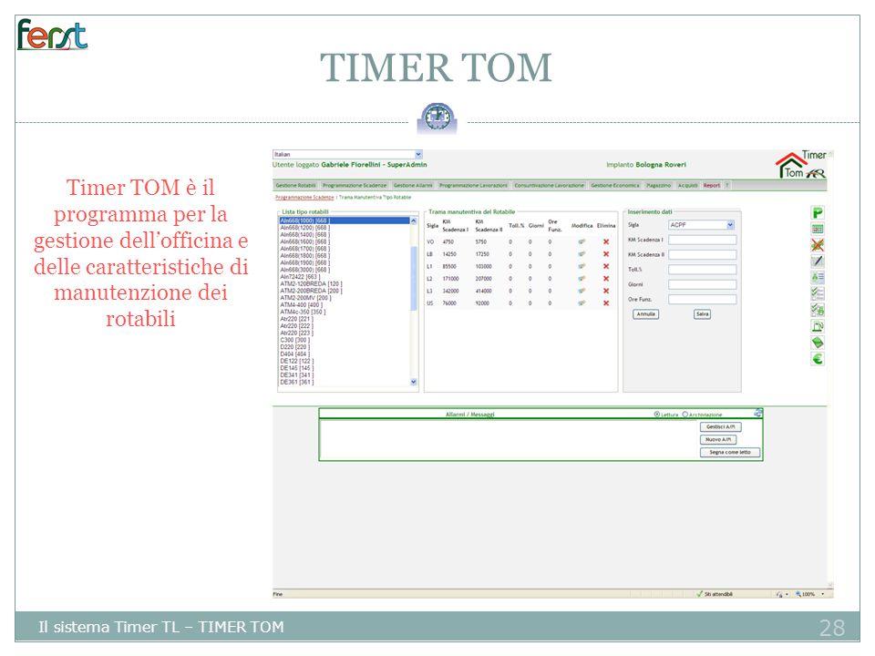 28 TIMER TOM Il sistema Timer TL – TIMER TOM Timer TOM è il programma per la gestione dell'officina e delle caratteristiche di manutenzione dei rotabili