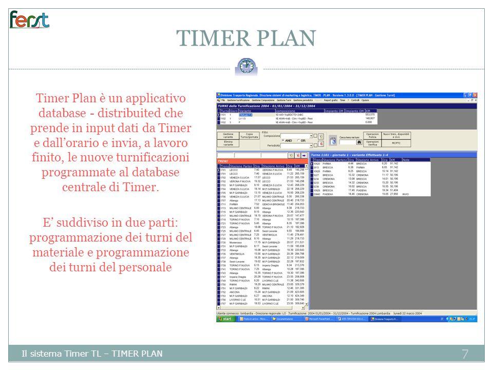 7 TIMER PLAN Il sistema Timer TL – TIMER PLAN Timer Plan è un applicativo database - distribuited che prende in input dati da Timer e dall'orario e invia, a lavoro finito, le nuove turnificazioni programmate al database centrale di Timer.