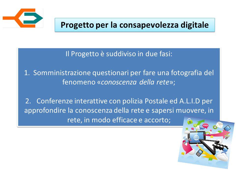 Progetto per la consapevolezza digitale Il Progetto è suddiviso in due fasi: 1.