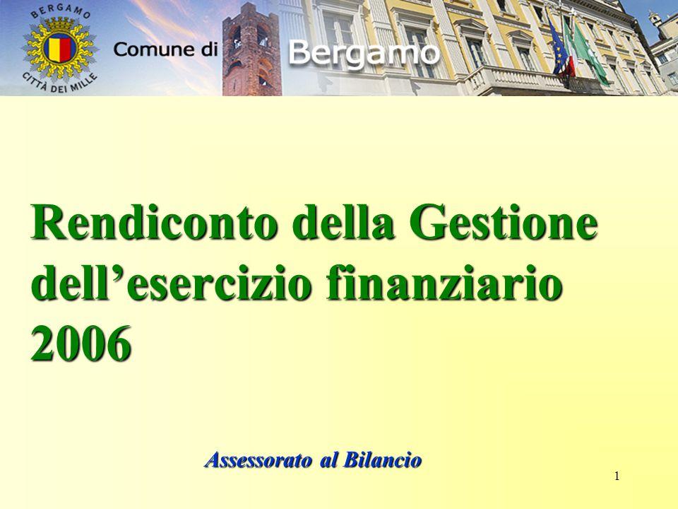 1 Rendiconto della Gestione dell'esercizio finanziario 2006 Assessorato al Bilancio