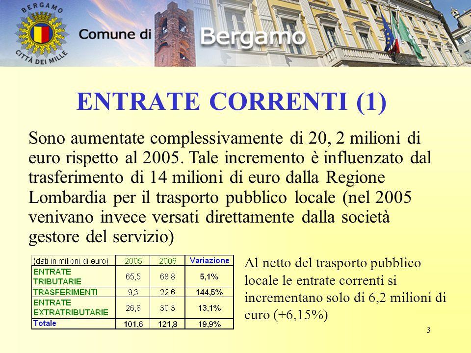 3 ENTRATE CORRENTI (1) Sono aumentate complessivamente di 20, 2 milioni di euro rispetto al 2005. Tale incremento è influenzato dal trasferimento di 1