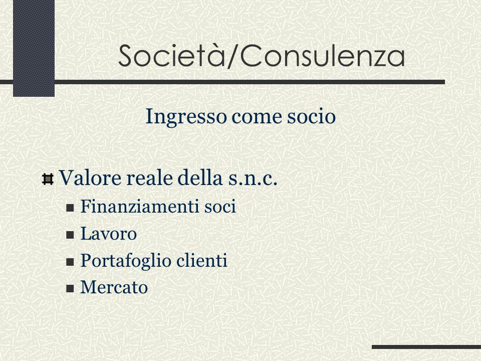 Società/Consulenza Ingresso come socio Valore reale della s.n.c.