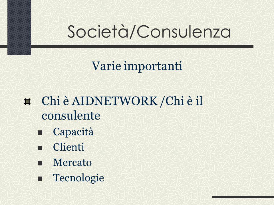 Società/Consulenza Varie importanti Chi è AIDNETWORK /Chi è il consulente Capacità Clienti Mercato Tecnologie