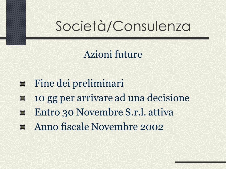 Società/Consulenza Azioni future Fine dei preliminari 10 gg per arrivare ad una decisione Entro 30 Novembre S.r.l.
