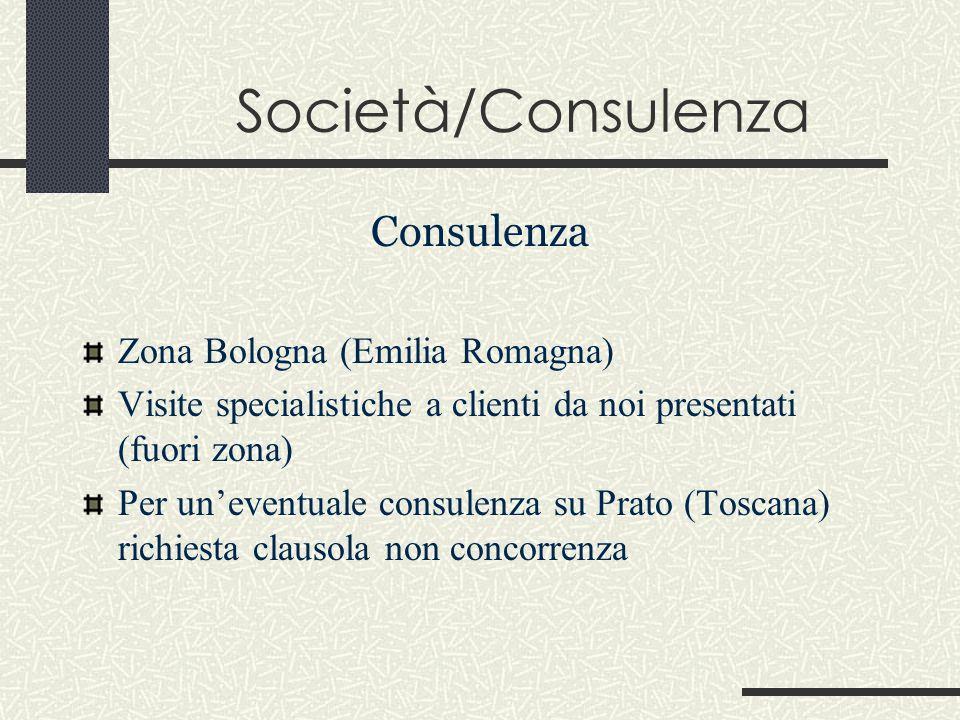Società/Consulenza Consulenza Zona Bologna (Emilia Romagna) Visite specialistiche a clienti da noi presentati (fuori zona) Per un'eventuale consulenza su Prato (Toscana) richiesta clausola non concorrenza