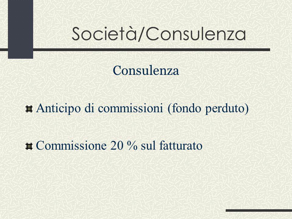 Società/Consulenza Consulenza Anticipo di commissioni (fondo perduto) Commissione 20 % sul fatturato