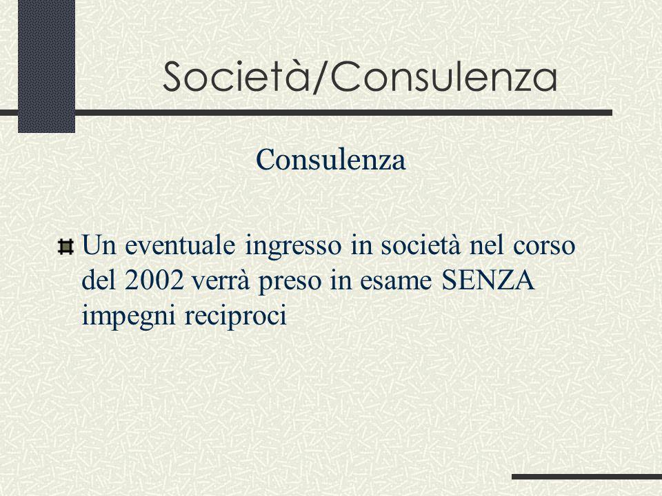 Società/Consulenza Consulenza Un eventuale ingresso in società nel corso del 2002 verrà preso in esame SENZA impegni reciproci
