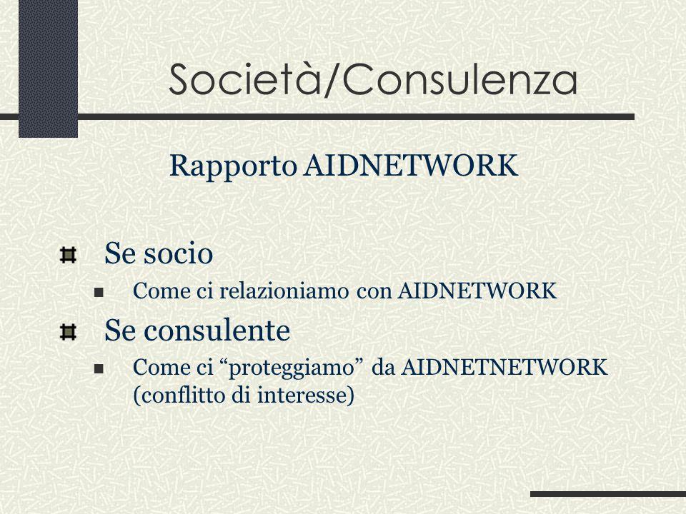 Società/Consulenza Rapporto AIDNETWORK Se socio Come ci relazioniamo con AIDNETWORK Se consulente Come ci proteggiamo da AIDNETNETWORK (conflitto di interesse)