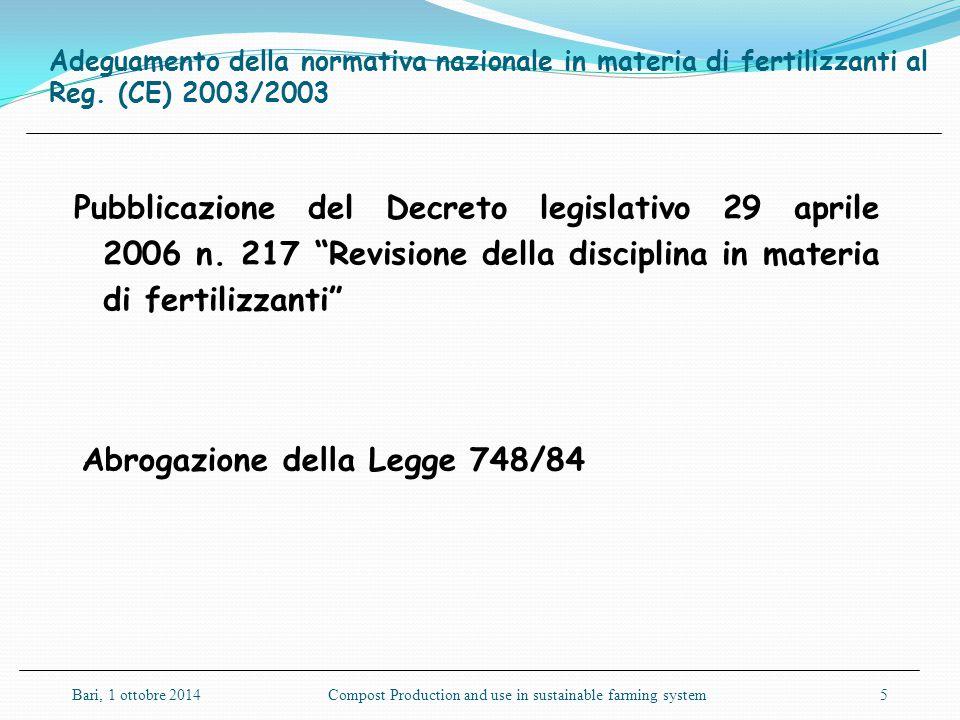 """Adeguamento della normativa nazionale in materia di fertilizzanti al Reg. (CE) 2003/2003 Pubblicazione del Decreto legislativo 29 aprile 2006 n. 217 """""""