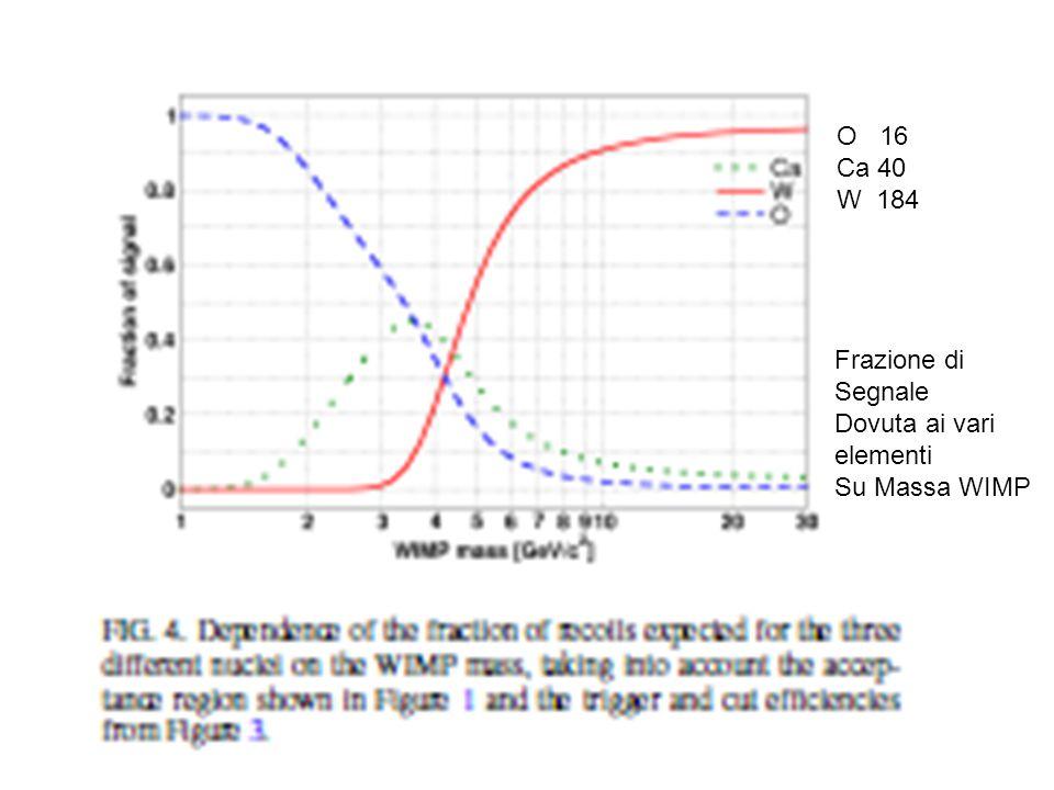 O 16 Ca 40 W 184 Frazione di Segnale Dovuta ai vari elementi Su Massa WIMP