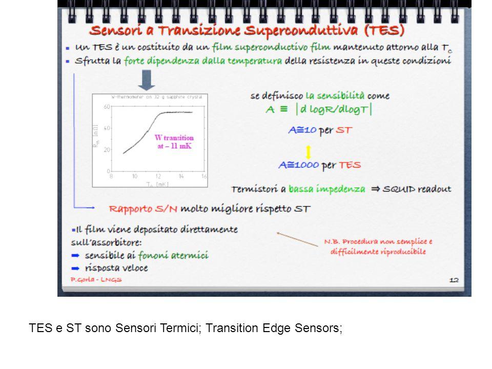 TES e ST sono Sensori Termici; Transition Edge Sensors;