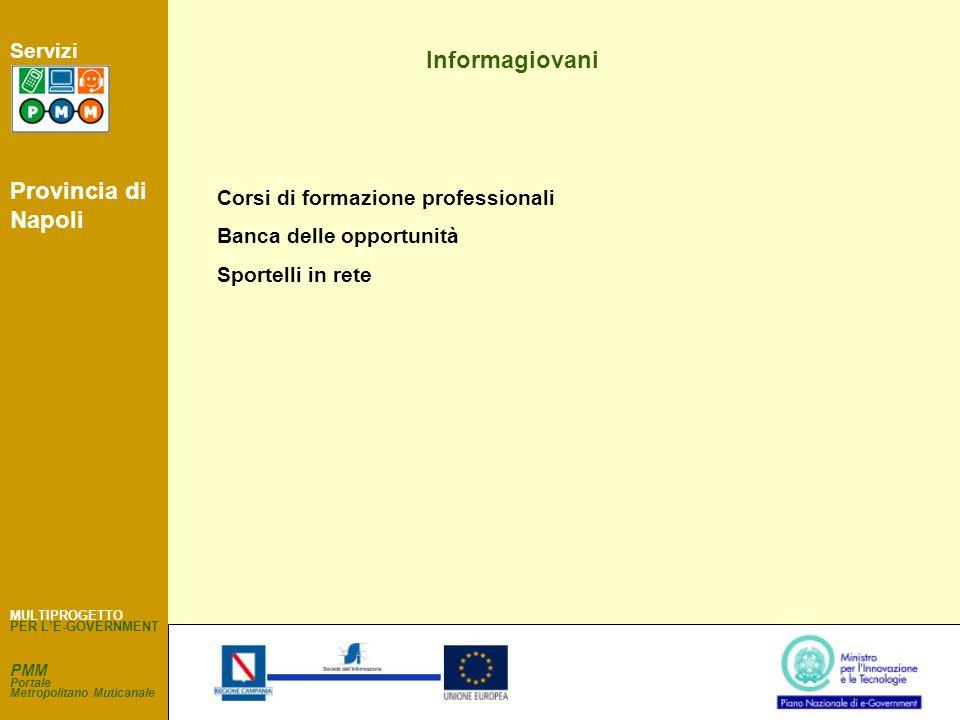 PMM Portale Metropolitano Muticanale Servizi Informagiovani Corsi di formazione professionali Banca delle opportunità Sportelli in rete MULTIPROGETTO PER L'E-GOVERNMENT Provincia di Napoli