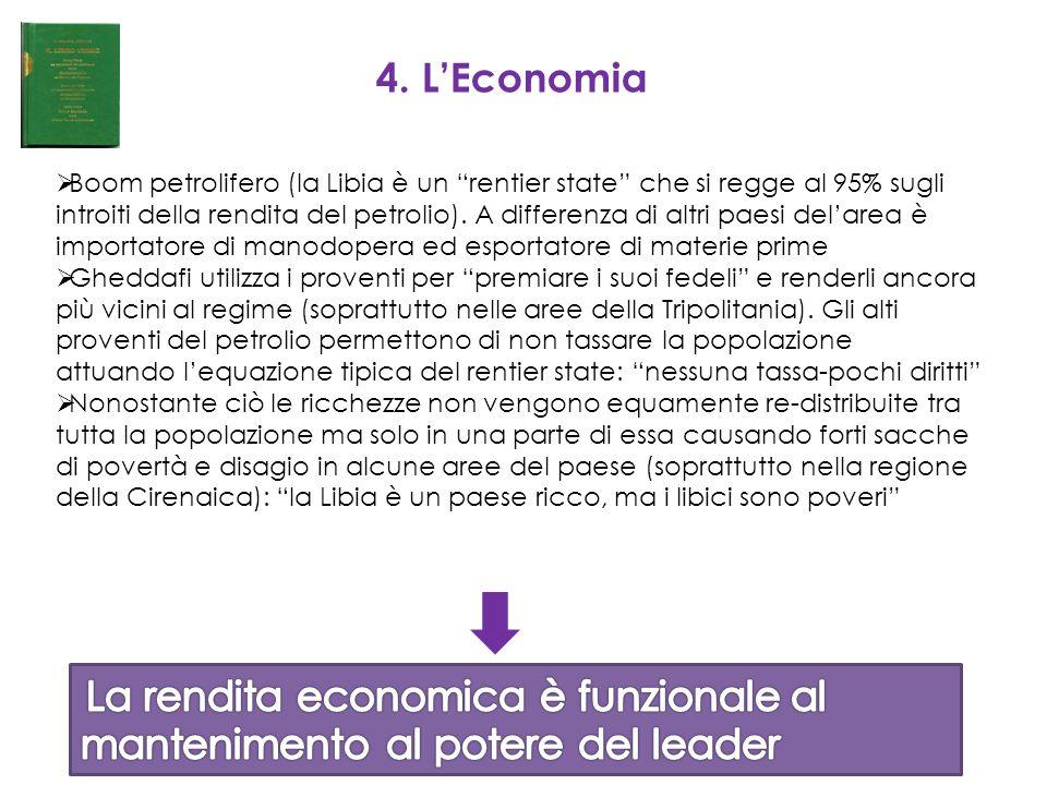 """4. L'Economia  Boom petrolifero (la Libia è un """"rentier state"""" che si regge al 95% sugli introiti della rendita del petrolio). A differenza di altri"""