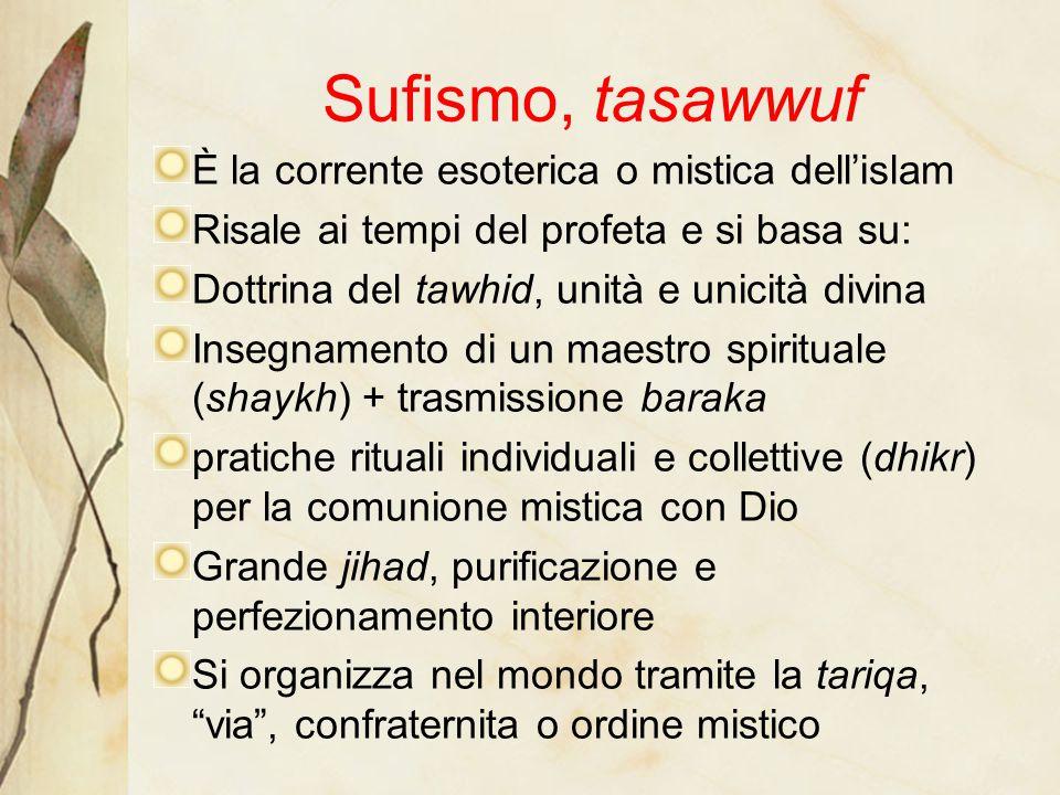 Sufismo, tasawwuf È la corrente esoterica o mistica dell'islam Risale ai tempi del profeta e si basa su: Dottrina del tawhid, unità e unicità divina I