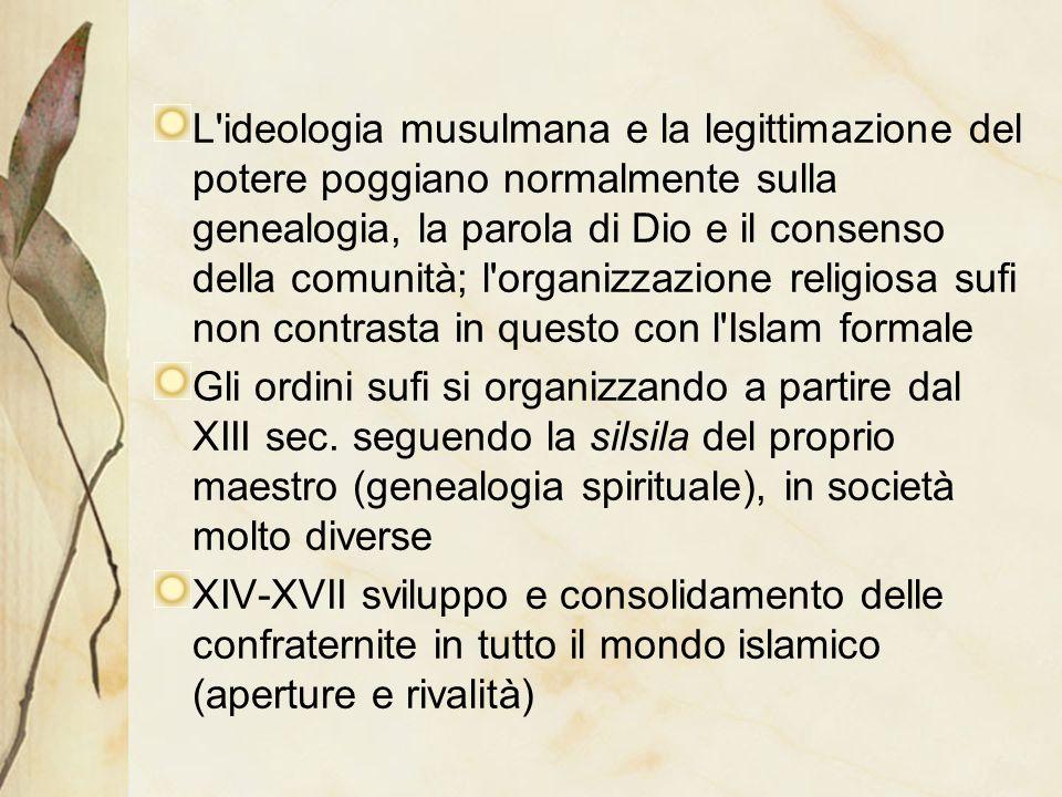 L'ideologia musulmana e la legittimazione del potere poggiano normalmente sulla genealogia, la parola di Dio e il consenso della comunità; l'organizza