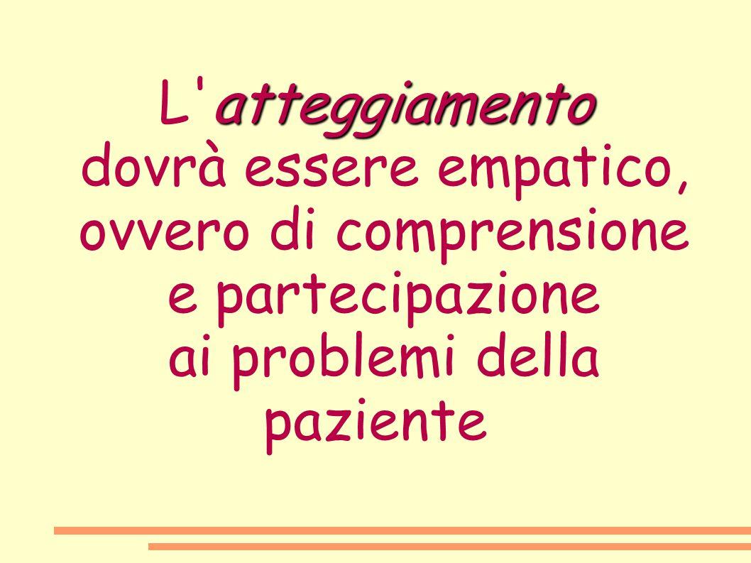 atteggiamento L'atteggiamento dovrà essere empatico, ovvero di comprensione e partecipazione ai problemi della paziente