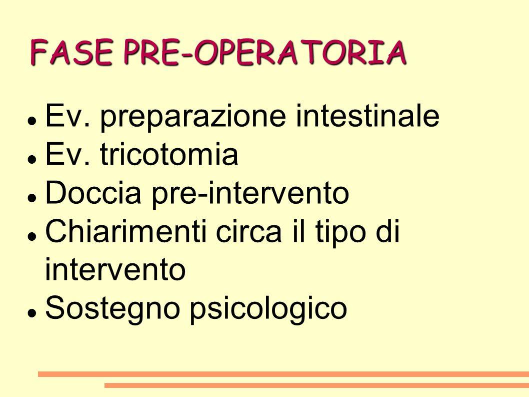 FASE PRE-OPERATORIA Ev. preparazione intestinale Ev. tricotomia Doccia pre-intervento Chiarimenti circa il tipo di intervento Sostegno psicologico