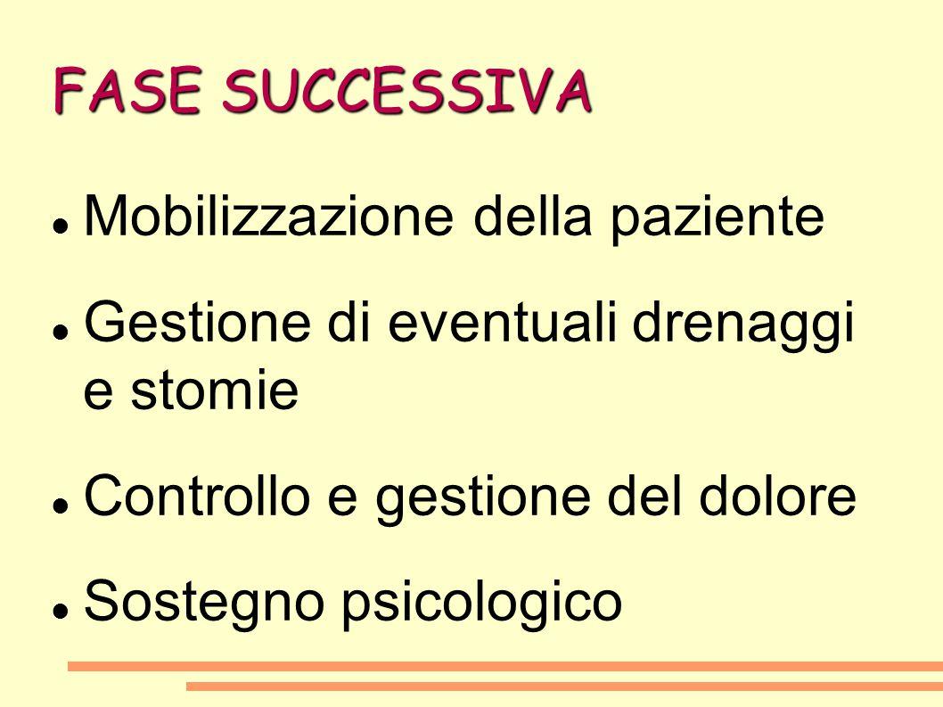 FASE SUCCESSIVA Mobilizzazione della paziente Gestione di eventuali drenaggi e stomie Controllo e gestione del dolore Sostegno psicologico