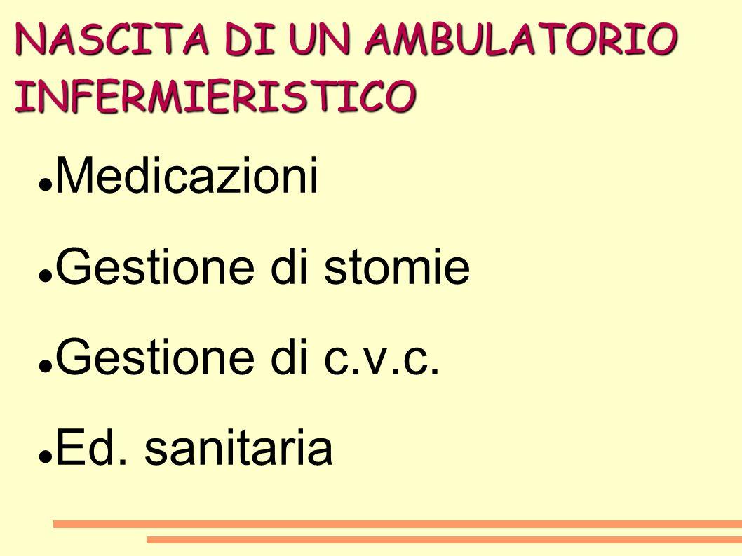 NASCITA DI UN AMBULATORIO INFERMIERISTICO Medicazioni Gestione di stomie Gestione di c.v.c. Ed. sanitaria