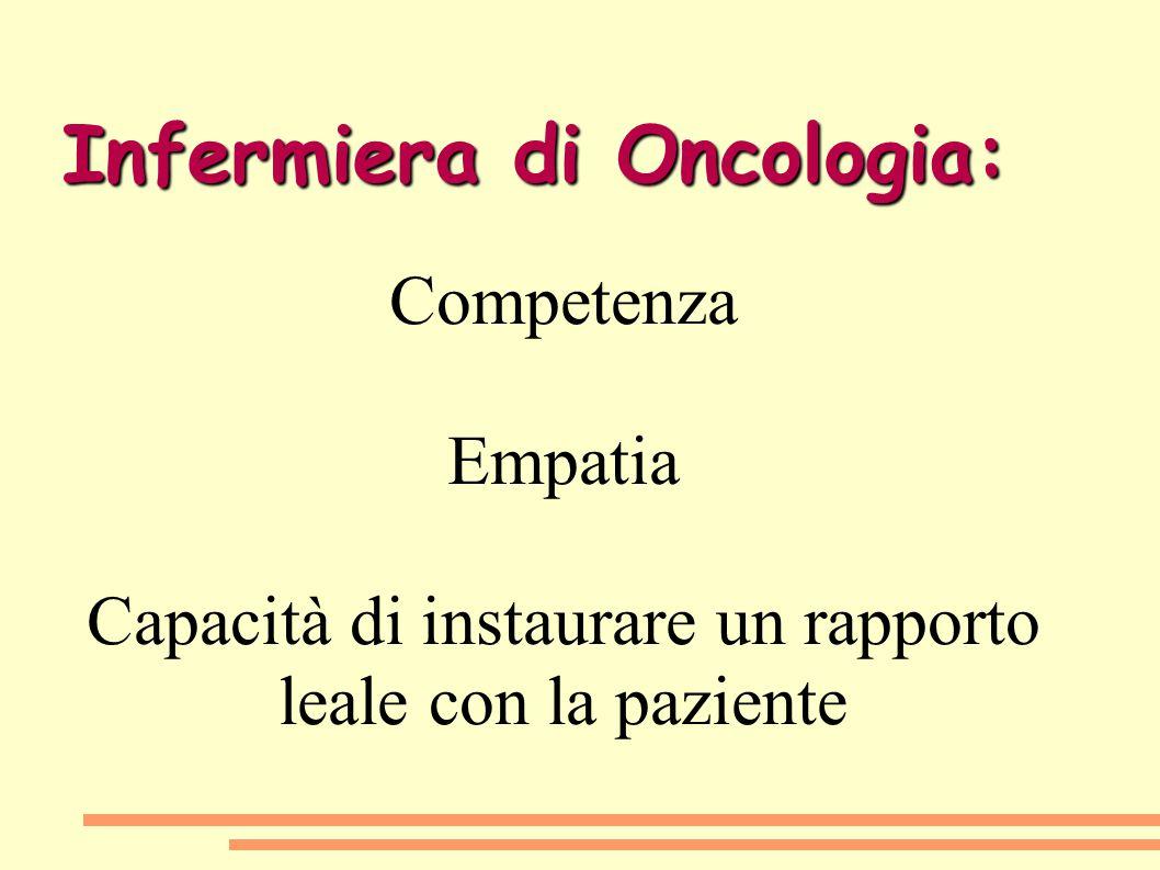 Infermiera di Oncologia: Competenza Empatia Capacità di instaurare un rapporto leale con la paziente