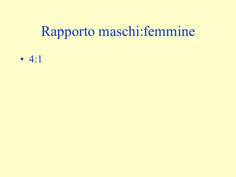 Rapporto maschi:femmine 4:1