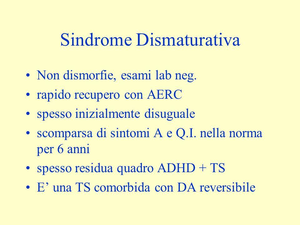 Sindrome Dismaturativa Non dismorfie, esami lab neg. rapido recupero con AERC spesso inizialmente disuguale scomparsa di sintomi A e Q.I. nella norma