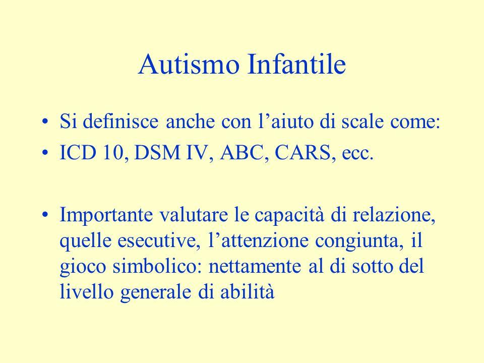 Autismo Infantile Si definisce anche con l'aiuto di scale come: ICD 10, DSM IV, ABC, CARS, ecc. Importante valutare le capacità di relazione, quelle e
