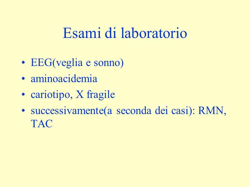Esami di laboratorio EEG(veglia e sonno) aminoacidemia cariotipo, X fragile successivamente(a seconda dei casi): RMN, TAC