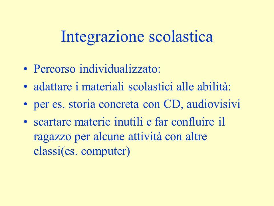 Integrazione scolastica Percorso individualizzato: adattare i materiali scolastici alle abilità: per es. storia concreta con CD, audiovisivi scartare