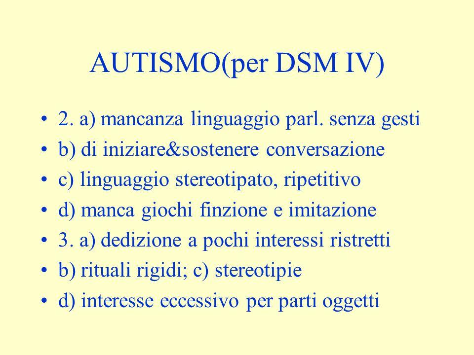 AUTISMO(per DSM IV) 2. a) mancanza linguaggio parl. senza gesti b) di iniziare&sostenere conversazione c) linguaggio stereotipato, ripetitivo d) manca