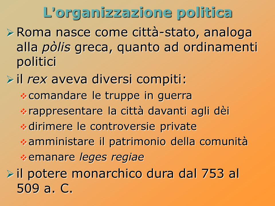 L'organizzazione politica  Roma nasce come città-stato, analoga alla pòlis greca, quanto ad ordinamenti politici  il rex aveva diversi compiti:  co