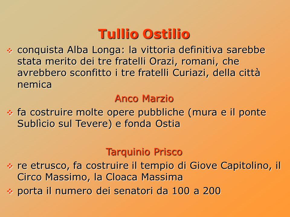 Tullio Ostilio  conquista Alba Longa: la vittoria definitiva sarebbe stata merito dei tre fratelli Orazi, romani, che avrebbero sconfitto i tre frate